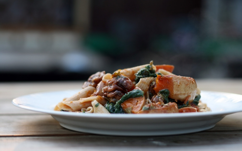 Pasta dish made with our organic squash and foraged nettles